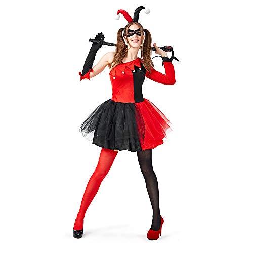 ReneeCho Disfraz de Payaso para Mujer Disfraz de bufón Adulto Traje de Halloween Fiesta de Carnaval Disfraz