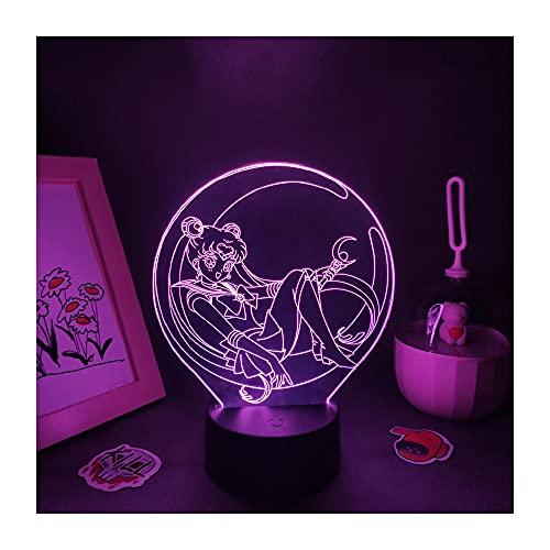 Sailor Moon Holografische Projector 3d Licht Gadget Moon Sailor Slaapkamer Verlichting Usb Lamp Nachtkastje Droom Kleur…