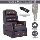 HOMCOM Elektrischer Fernsehsessel Aufstehsessel Relaxsessel Sessel mit Motor und Aufstehlhilfe Braun - 3