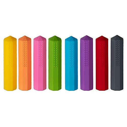 Bleistift Topper für Kinder, ANSUG 8 Stück Ungiftiges Silikon-Kauspielzeug Sensory Chewy Baby Beißring für Kinder, Stressabbau, Beißlinderung beißen, Angst