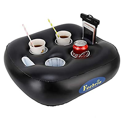 FEEBRIA Inflatable Floating Drink Holder with 4 Holes Large Capacity ,Drink Float for Pool Party Beach