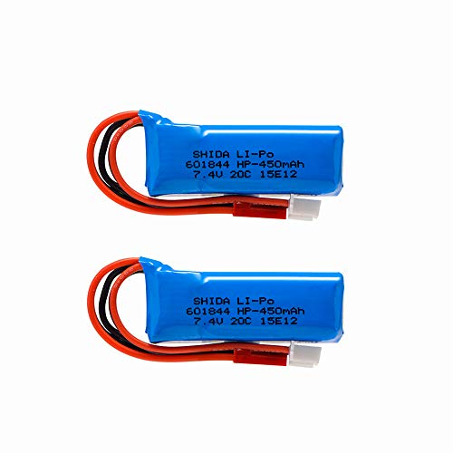 2 pcs 7.4V 450mAh 20C Lipo Battery with JST Connector for WLtoys K969 K989 K999 P929 P939 RC Car