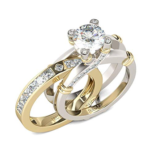 Jeulia Diamond Band Rings for Women cz Sterling Silver Interchangeable Ring Sets Wedding Engagement Anniversary Promise Ring Bridal Sets (14 gold, M-½)