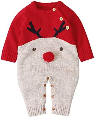 Unisex Infant Baby Christmas Sweater Toddler Reindeer Knit Jumpsuit Outfit Red 0 3 Months product image