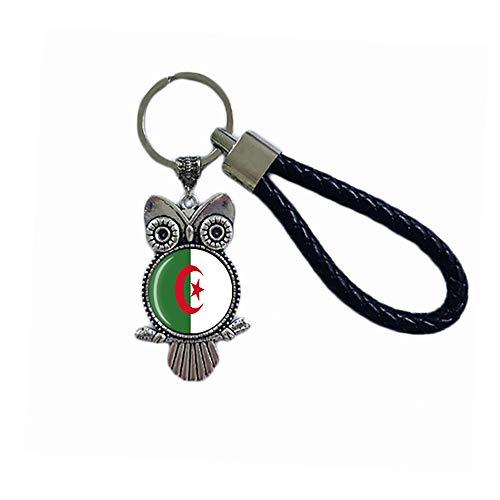 Schlüsselanhänger mit Algerien-Flagge, Eulenform, Glas, Kristall, Souvenir, Dekoration, für Männer und Frauen, Anhänger, Zubehör, Geschenk