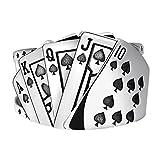 M/S Straight Flush Playing Card Ring Gift Anillo de joyería con Personalidad Masculina y Femenina Plata Diámetro de Las Espadas: 17 mm, Ancho: 14 mm