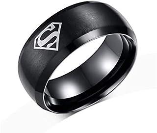 خاتم عصري من الفولاذ بشعار سوبر مان، مصمم على الطراز الاوروبي والامريكي، لون اسود