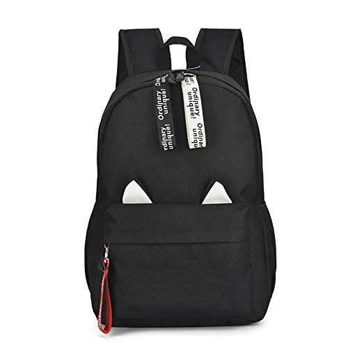 ASDFGHJKL Damen koreanischen Gezeiten Umhängetasche große Kapazitäts-Umhängetasche Nylon Cloth Rucksack High School Student Jugend Schoolbag Multifunktionsrucksack,Schwarz