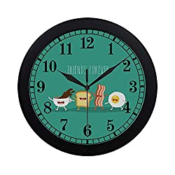 INTERESTPRINT Funny Breakfast Food Friends Forever Egg Bacon Toast Round Quartz Wall Clock Large Number Clock for Office School Kitchen Bedroom Living Room Decor, Black
