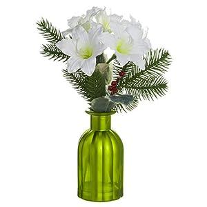 12″ Amaryllis Silk Flower Arrangement -White (Pack of 6)