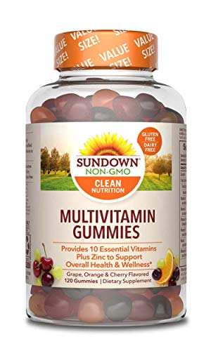 Adult Multivitamin Gummies by Sundown, Dietary Supplement with Vitamin D, C and Zinc for Immune Support, Non-GMO, Free of Gluten, Dairy, Artificial Flavors, 120 Gummies