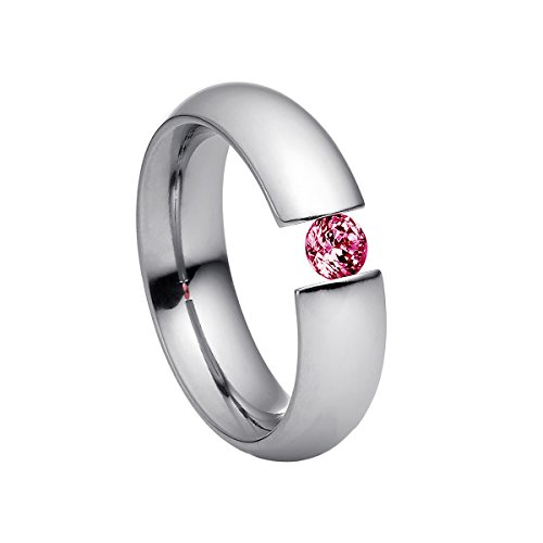Heideman Ring Damen Intensio aus Edelstahl Silber farbend poliert Damenring für Frauen mit Swarovski Stein Zirkonia rot im Brillant Schliff 4mm