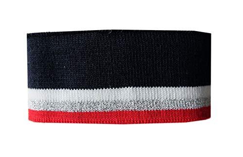 Zierstoff einfach nähen Strickbündchen, Collegebündchen in Marine mit Streifen in Rot/Silber/Weiß, Marine