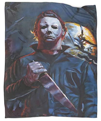 Halloween Horror Movie Michael Myers Warm Blanket Microfiber Couch Blanket | Gradient Decorative Accent Throw | All Season 70'x90'