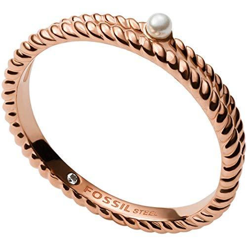 Fossil Anillo para mujer de acero inoxidable, oro rosa, JF03656791