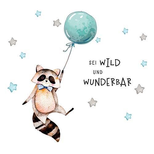 Little Deco Sticker Spruch sei wild & Waschbär I Wandbild M - 120 x 55 cm (BxH) I Luftballon Wandbilder Wandtattoo Kinderzimmer Junge Tiere Deko Babyzimmer Kinder DL324