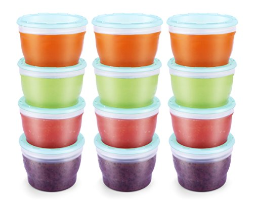 QOOC Baby Food Storage Freezer Containers, BPA Free, Mint Blue, 118 ml, Pack of 12