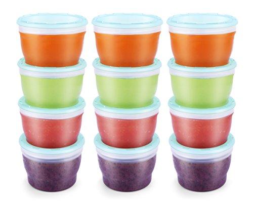 QOOC Petit Pots de Conservation Congélation pour aliments pour bébés, sans BPA, bleu menthe, 118 ml, lot de 12