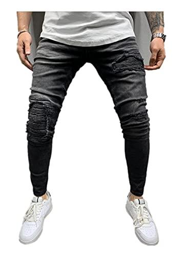 Hombres Drapeado Rayas Agujero de Mezclilla Otoño Invierno Vintage Lavado Hip Hop Pantalones de Trabajo Pantalones Vaqueros Lápiz Jeans Hombre-Black_3XL