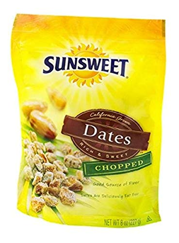 Sunsweet Dates Chopped Stand Up Bag 8-Ounce Packages (Pack of 6)