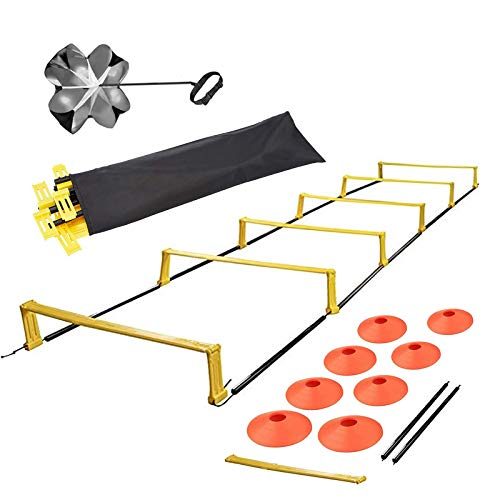 Jandays Agility Ladder Speed Training Equipment Set - 6 Fixed Rung 8 Ft Speed Ladder with 8 Cones, Resistance Parachute and Carrying Bag for Soccer, Football, Sports, Workout, Footwork Drills