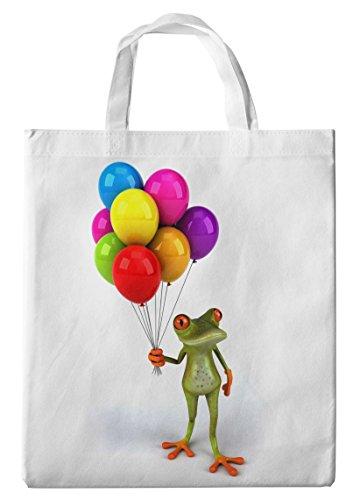 Merchandise for Fans Einkaufstasche- 38x42cm, 8 Liter - Motiv: 3D Comic Frosch mit Luftballons - 33