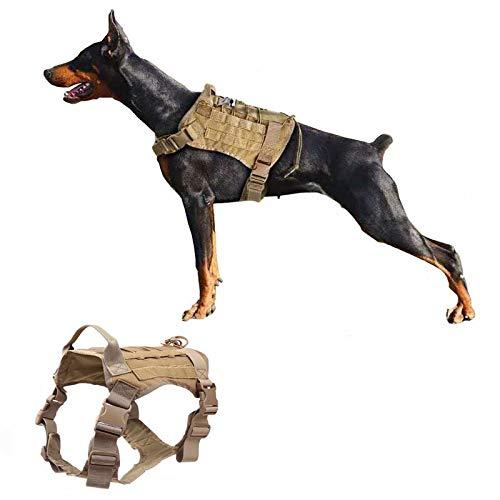 Ducomi - Arnés militar táctico + correa para perro K9, adiestramiento y perros de trabajo - Arnés chaleco antifugas para perros de talla mediana, grande, pastor alemán, Pitbull, Rottweiler