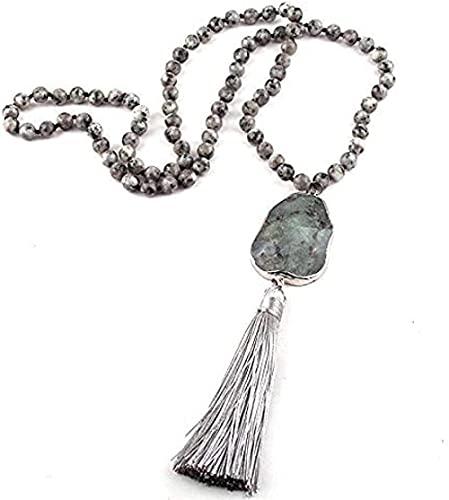 WYDSFWL Collar Mujer Hombre Moda joyería Bohemia Piedra Gris Piedra torcida Enlace Borla Collares para quién