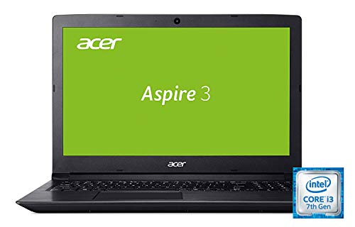 Acer Aspire 3 (A315-51-3797) 39,6 cm (15,6 Zoll Full-HD matt) Multimedia Notebook (Intel Core i3-7020U, 4 GB RAM, 128 GB SSD, Intel HD, Win 10) schwarz