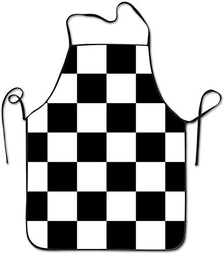 Schürze Schachbrett Zielflaggenmuster Schürzen Lätzchen Mens Womens Lace einstellbar Polyester Kochen lange volle Küche Schürzen