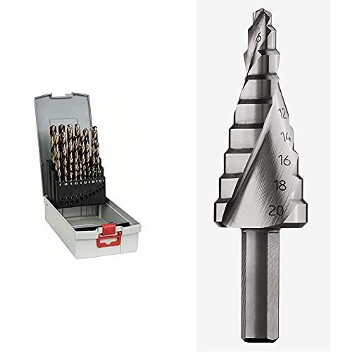 Bosch Professional 2608587018 25-Piece HSS-Cobalt ProBox Metal Drill Bit Set, Gold, 1mm-13mm + Bosch Professional 260925C138 HSS Step Bit