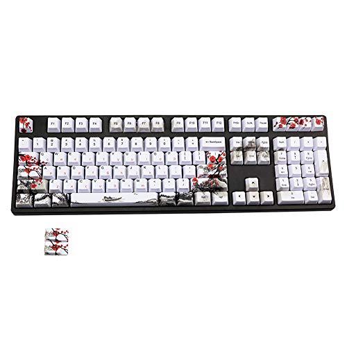 Facibom 110 Keys PBT Keycap Dye-Sublimation Plum Blossom Cherry Profile Key...