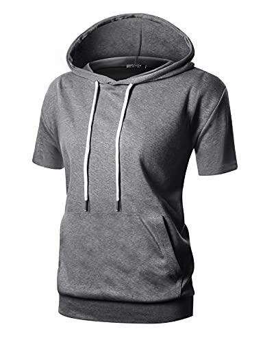 GIVON Womens Comfortable Short Sleeve Lightweight Pullover Hoodie With Kanga Pocket/DCF169-DEEPGREY-S
