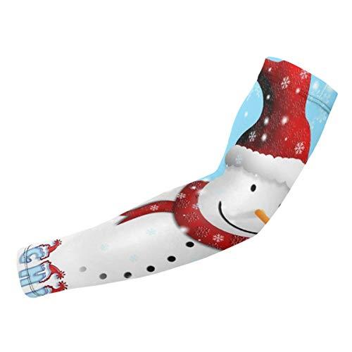 Rterss Weihnachts-Postkarte mit Schneemann Armschutz Ärmel Sonnenschutz Warm Unisex Outdoor Sport (1 Paar) personalisierbar