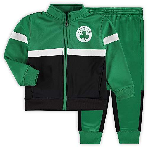 Outerstuff NBA Toddler Shot Caller Performance Full Zip Track Jacket and Pants Set (Boston Celtics Green, 3T)