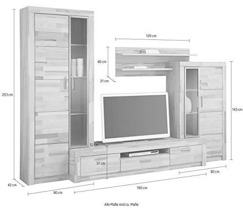 3.3.2.4.3099: schöne Wohnwand in Kernbuche teilmassiv – Wohnzimmerscherank Kernbuche teilmassiv - 7