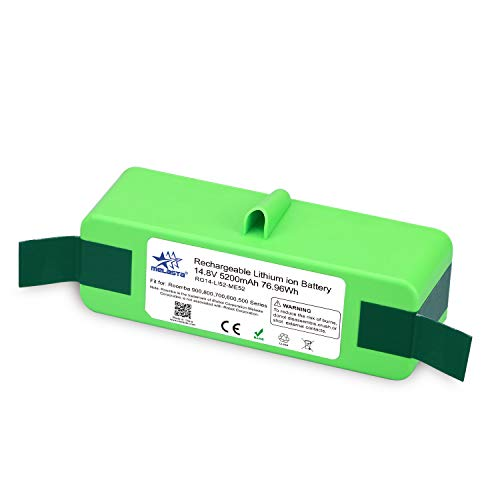 Melasta 14.4V 5200mAh Lithium-ion Replacement battery XLife Extended Life Battery for iRobot Roomba 500 600 700 800 Series 510 530 531 532 550 585 595 561 600 620 630 650 760 770 780 870 880