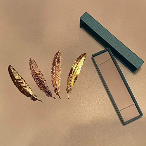 RedLike 4pcs Bookmark Vintage Metal Book Marks Set Feather Book Marker for Book Lovers Students Teachers Writers Readers Women Men Kids Girls Boys with Gift Box