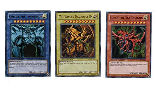 YuGiOh Legendary Collection Ultra Rare God Card Set of 3 Egyptian God Cards Slifer, Obelisk Ra by Yu-Gi-Oh!