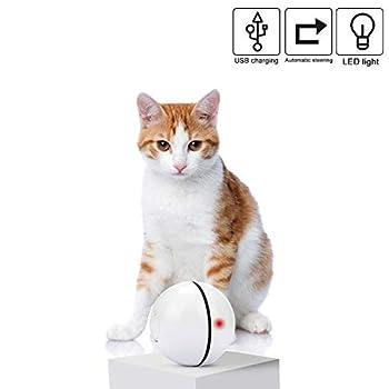 Homealexa Jouet pour Chat Interactif Automatique à Bille Roulante Rechargeable LED Light Entertainment Pet Toy Exercice Chaser pour Chats et Chiens