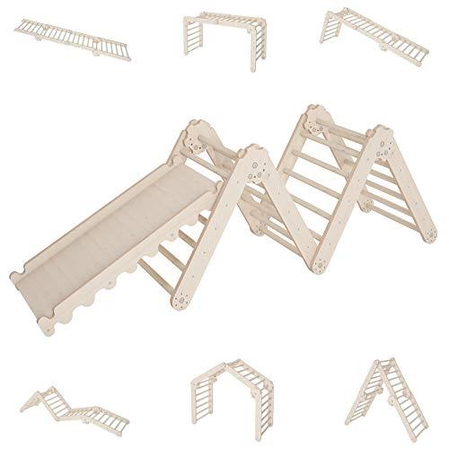 MAMOI Triangle Gym Dreieck für Kinder XL Modifizierbar | Modernes Nachhaltig Kletterdreieck Montessori für Kleinkinder aus natürlichem Holz | Dreieck Klappbar minimalistisches Design