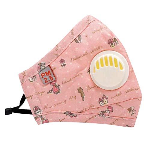 WEXCV EXCV Kinder 1pc Face Cover +2 filters Baumwolle Mund-und-Nasenschutz Atmungsaktiv Washable and Reusable Sonnenschutz Outdoor Essentials für Schule (Pink)