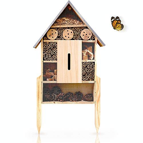 deinTierhaus.de© | Insektenhotel mit wetterfestem Metalldach & Füßen - Nisthilfe für Bienen, Marienkäfer & Schmetterlinge - Freistehendes Insektenhaus - Unterschlupf für Insekten | ca. 78 x 34 x 30 cm