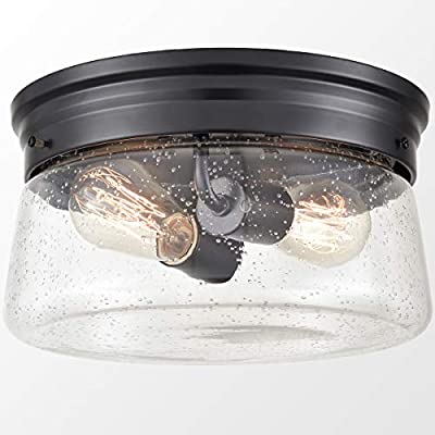Black Flush Mount Ceiling Light Seeded Glass Shade Industrial Bedroom Ceiling Lights Fixtures