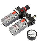 YUQIYU Compresor Filtro, PT1 / 4 de presión de aire del compresor medidor del filtro separador de aceite del agua Regulador Kit de herramientas Válvula Accesorios compresor Filtro