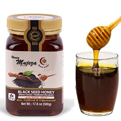 Mujeza Black Seed Honey with Royal Jelly - Not Mixed with Oil or Powder - Gluten Free - Non GMO - Organic Honey - Immune Booster - 100% Natural Raw Honey (500g /17.6oz) Mujeza Al Shifa