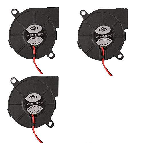 3pcs Brushless DC 12V 0.1A 5015 Cooling Blower Exhaust Turbo Fan 50x15mm 2-pin for 3D Printer Computer