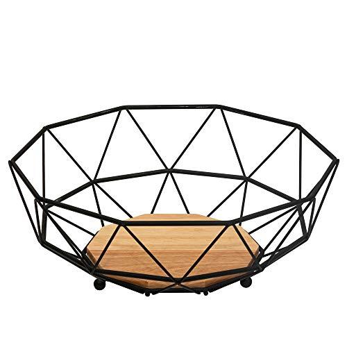 Rubberneck Obstkorb mit Holzboden aus Metall in Schwarz - Moderne Obstschale mit Holz Einsatz für Küche und Wohnzimmer