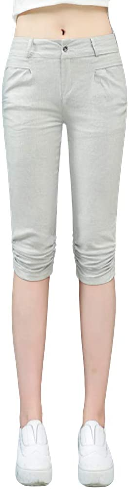 GenericBrands Ladies Cotton and Linen Casual Pants Loose Straight Summer Thin Section