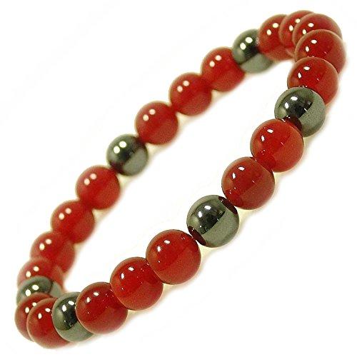 Powerstones Labo (パワーストーンズ ラボ) パワーストーン 天然石 8mm玉 ブレスレット21cm(内周19cm) 「赤メノウ ヘマタイト 仕事運 勝負運 数珠 メンズ ブレス」水晶さざれ20gつき 21